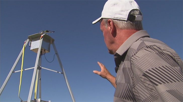 Thomsen said the 20-foot tower can be erected in 10 minutes with a crane, connect to any water or foam source, and make it rain at a fraction of the cost of other methods. (Source: 3TV/CBS 5)