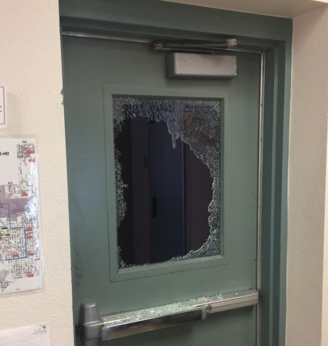 Window smashed by vandals at Case Grande Union High School. 24 April 2017