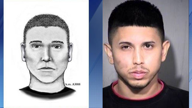 Composite sketch of the Serial Street Shooter, left, and the mugshot of Aaron Juan Saucedo. (Source: Phoenix Police Department/Maricopa County Sheriff's Office)
