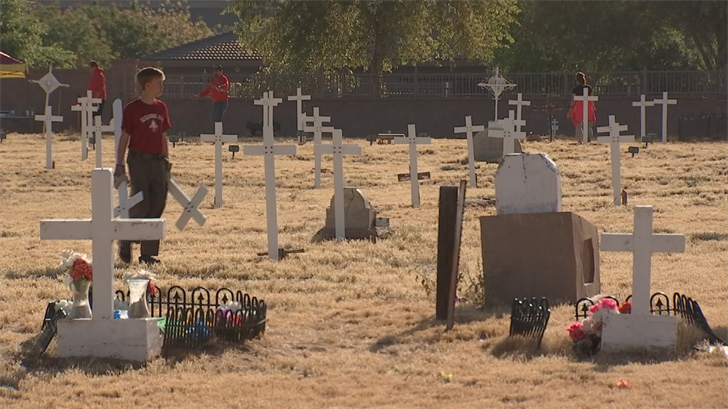 Adrian Dozal and his Boy Scout troop helped clean up a historic cemetery in the East Valley. (Source: 3TV/CBS 5)