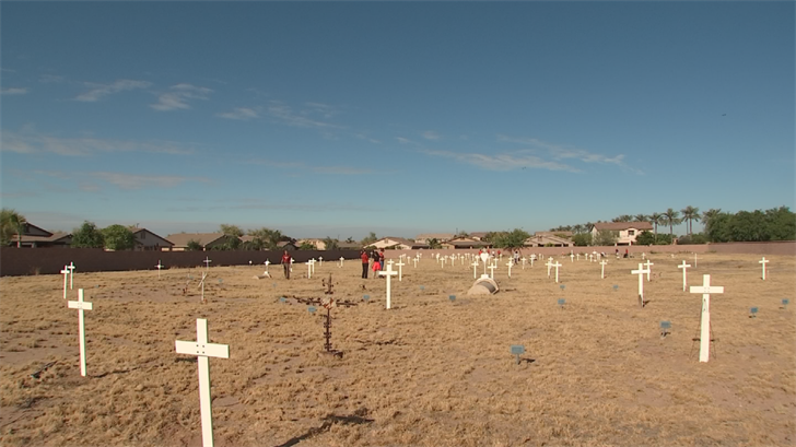 The cemetery, located near Chandler Heights and Arizona Avenue, is home to more than a hundred immigrant cotton field workers that supported World War I. (Source: 3TV/CBS 5)