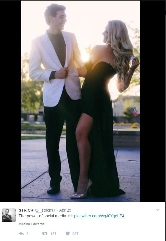 The pair took plenty of prom pictures this past weekend. (Source: Twitter)