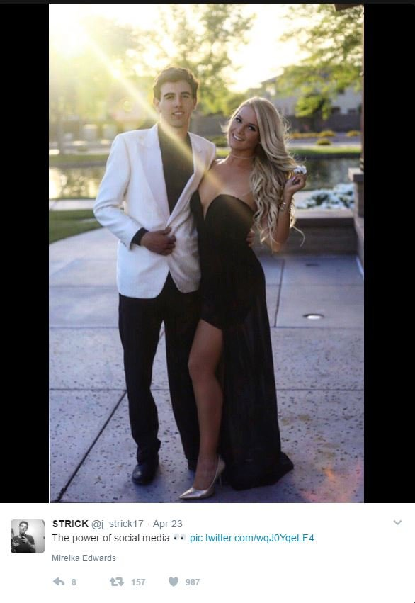 The pair couldn't go to the actual prom so they had dinner instead. (Source: 3TV/CBS 5)