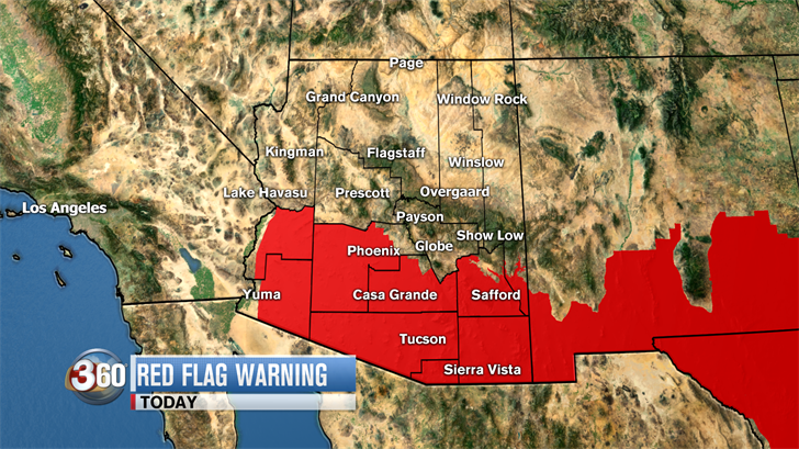 Because of the dry and windy condition, the National Weather Service has issued a Red Flag Warning for most of Maricopa County and the southern half of the state. (Source: 3TV/CBS 5)