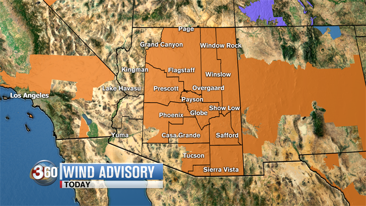 There's also a Wind Advisory 1 p.m.-8 p.m. (Source: 3TV/CBS 5)