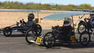 Students brought their solar-powered go-karts to a track in Tucson. (Photo by Erica Apodaca/Cronkite News)