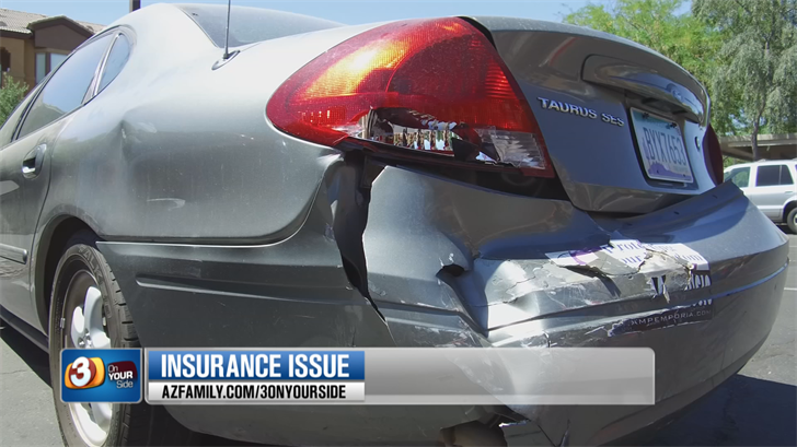 Lisa Casey said a driver plowed into her Ford Taurus but was having problems with a rental car's insurance company. (Source: 3TV/CBS 5)