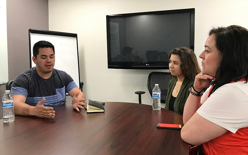 Ezequiel Santos (left) founded Mesa Community Colleges first club for DACA students, MUST (Mesa Undocumented Students Thriving). (Photo by Mindy Riesenberg/Cronkite News)
