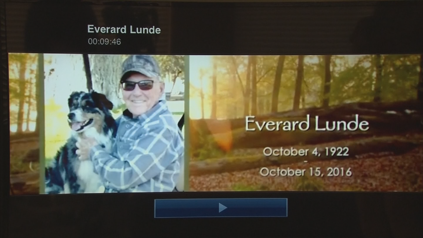 On the TV screen, there was the name Everard Lunde with the date of his birth and death. (Source: 3TV/CBS 5)