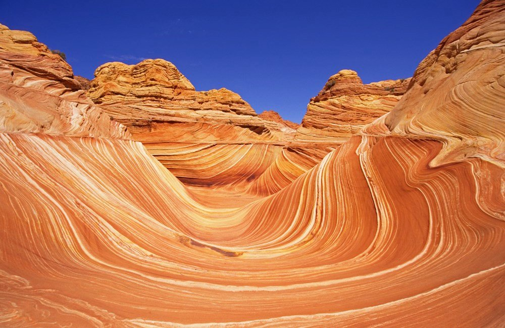 The Vermilion Cliffs National Monument includes The Wave in the Coyote Buttes. (Source: Wikipedia)