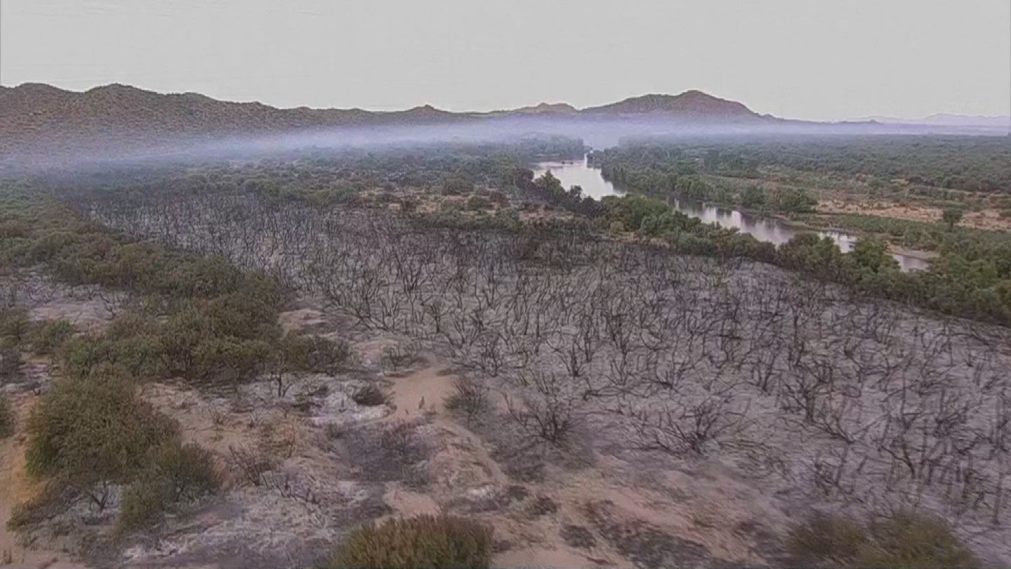 A view of the Cactus Fire on Thursday morning (Source: 3TV/CBS 5)