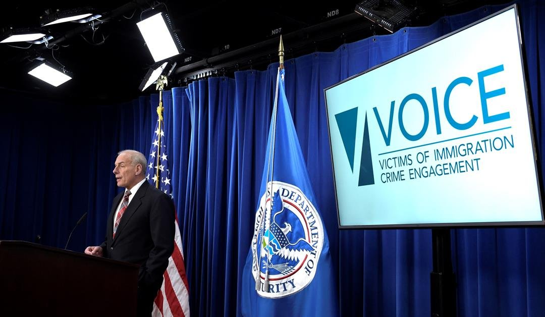 Homeland Security Secretary John Kelly announces the opening of new Victims of Immigration Crime Engagement (VOICE), Wednesday, April 26, 2017, during a news conference at Immigration and Customs Enforcement in Washington. (Source: AP Photo/Susan Walsh)