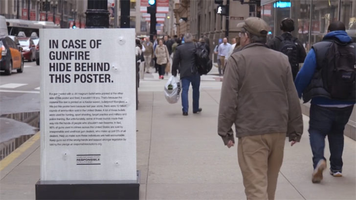 Americans for Responsible Solutions published a new video on YouTube that features tough talk on guns with posters that are made out of tough materials. (Source: 3TV/CBS 5)