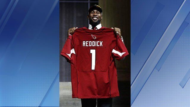 Temple's Haason Reddick poses after being selected by the Arizona Cardinals during the first round of the 2017 NFL football draft, Thursday, April 27, 2017, in Philadelphia. (AP Photo/Matt Rourke)