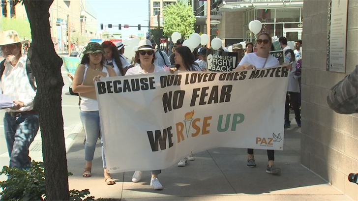 A group of people marched in downtown Phoenix for immigrants' rights. (Source: 3TV/CBS 5)