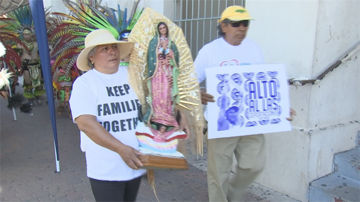Marchers said President Donald Trump's policies criminalize even non-violent immigrants. (Source: 3TV/CBS 5)