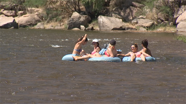 Several hundred people went out to the river just north of Mesa to take advantage of the opening. (Source: 3TV/CBS 5)
