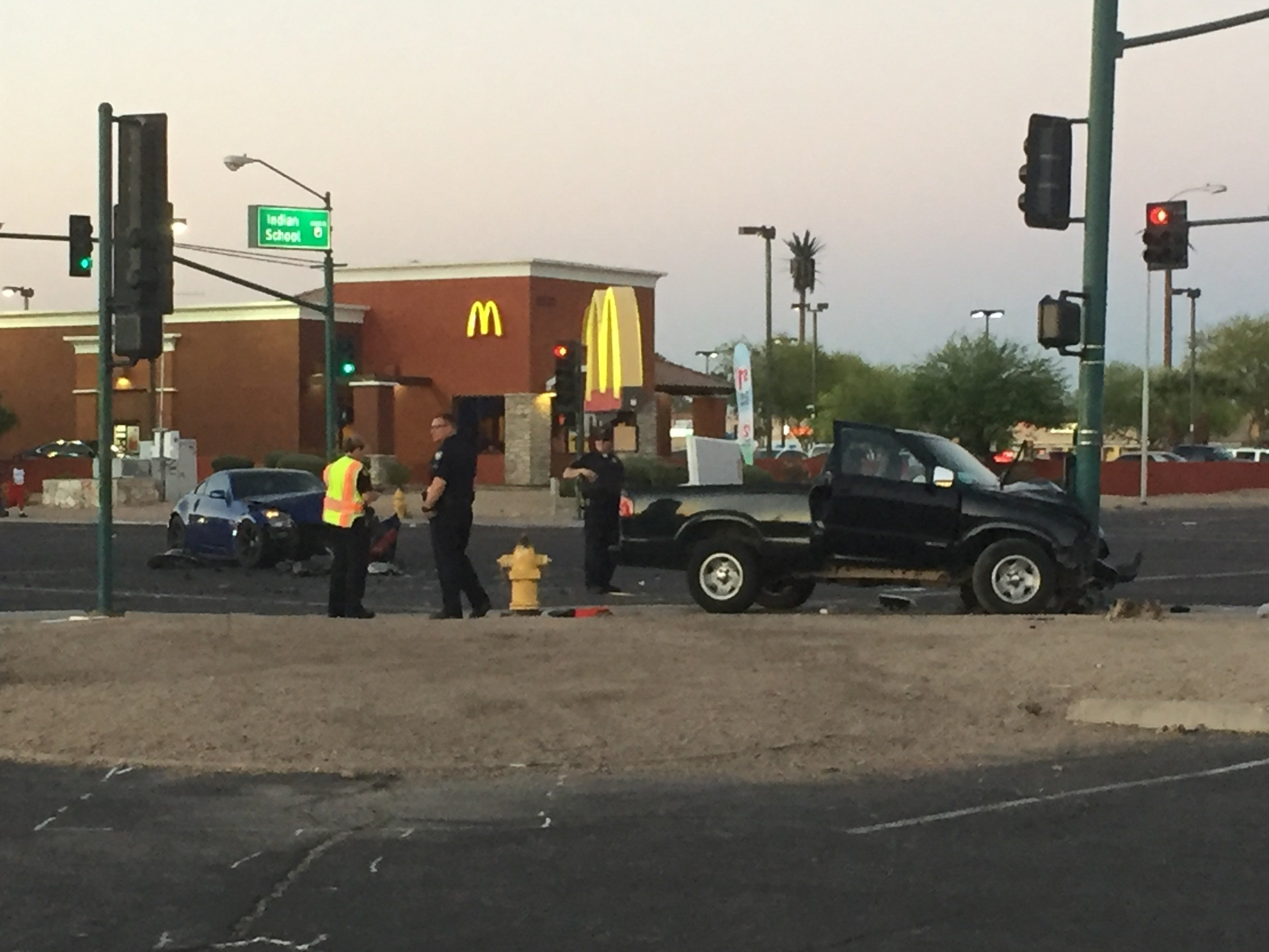 A car accident left 3 injured at 83rd ave. and Indian School Rd.  (1 May 2017) [Source: 3TV/CBS 5]
