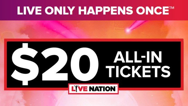 $20 tickets will be available on Tuesday for select shows. (Source: livenation.com)