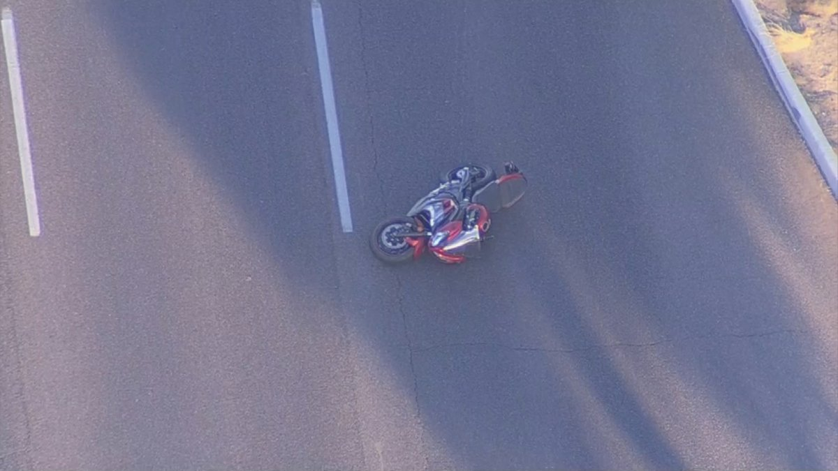 Aerial shot of the motorcycle crash (SOURCE: 3TV/CBS5)