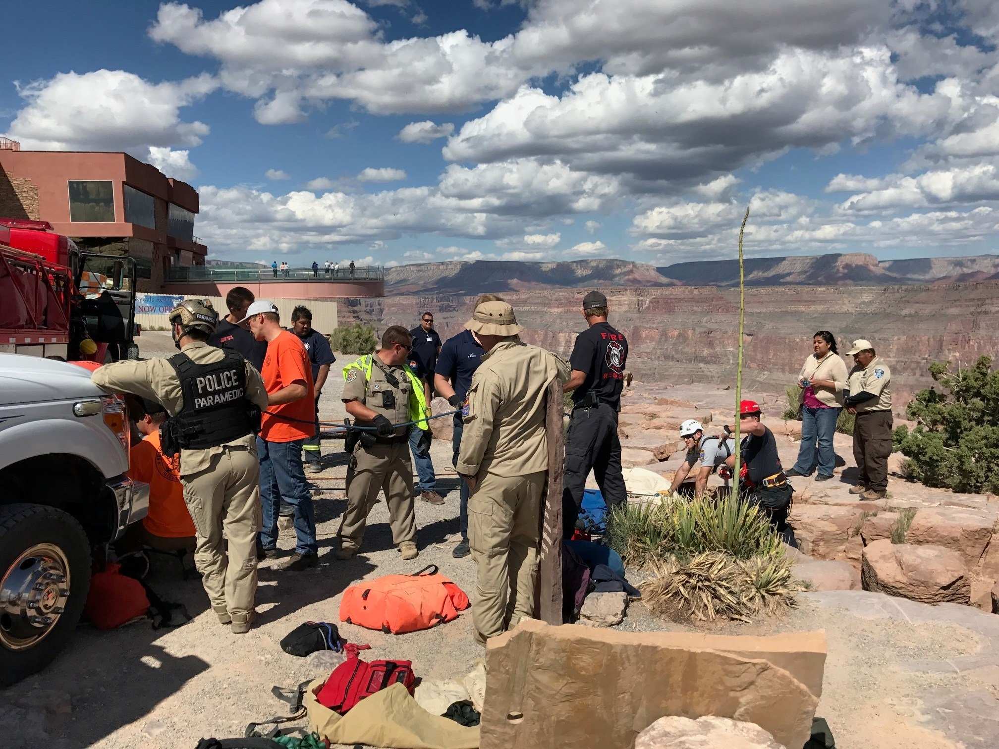 Rescue workers at the Grand Canyon. (Source: 3TV/CBS 5)