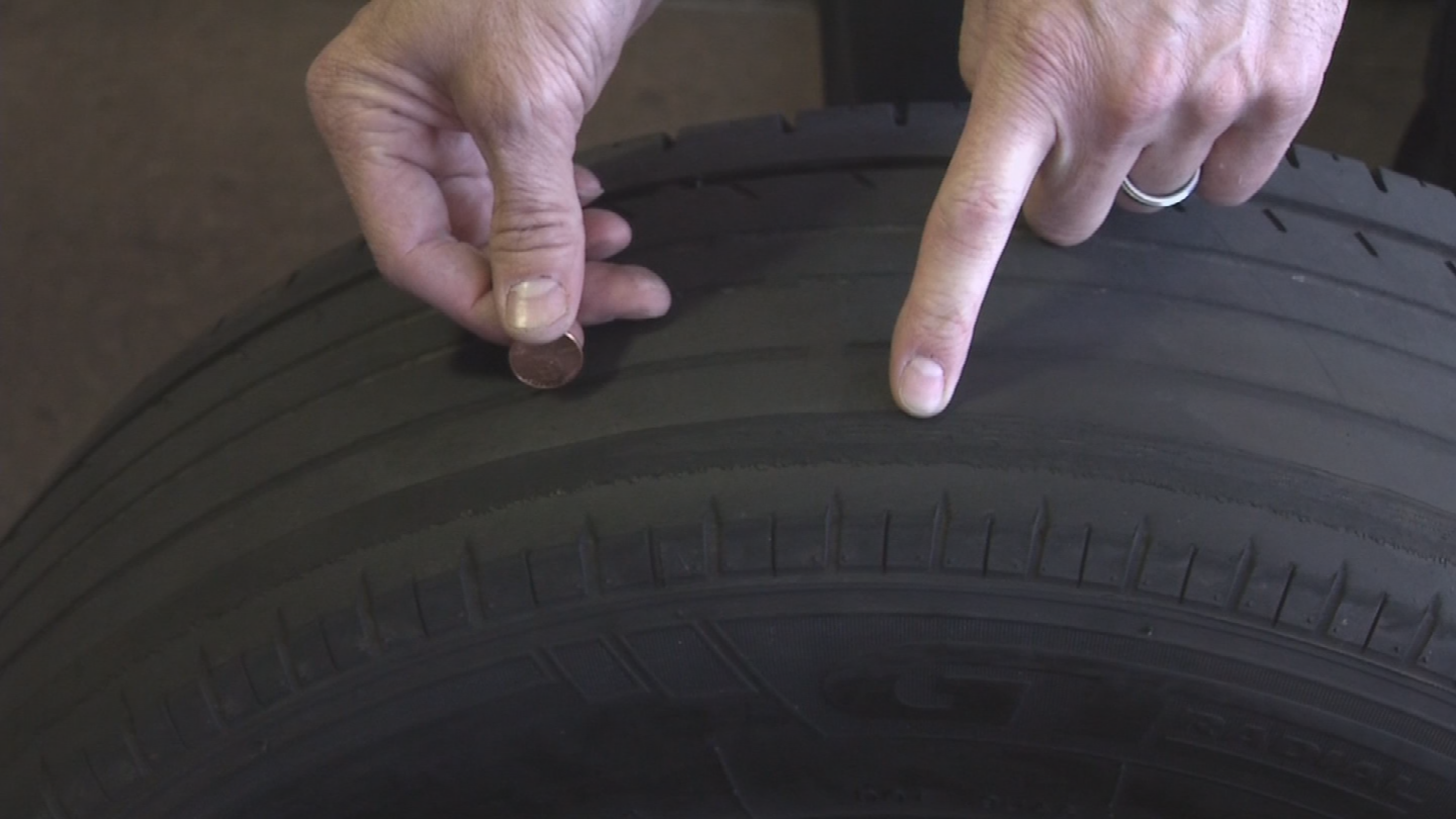 To check the tread, just insert the penny into the tread head first, and if too much of Lincoln's head can be seen, it's time to trash the tire. (Source: 3TV/CBS 5)