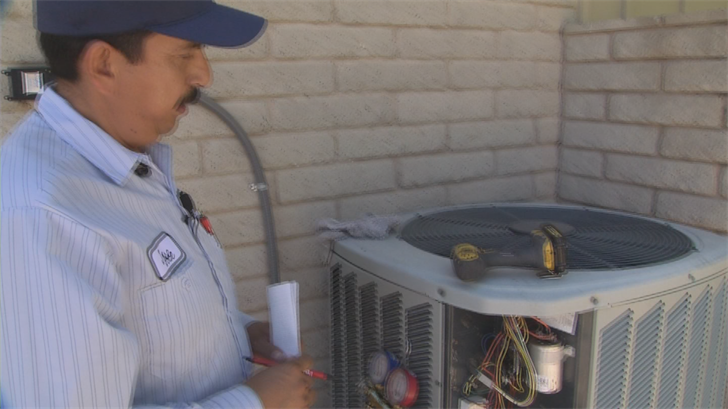 The Donley Service Center in Phoenix was one of many Valley air conditioning companies feeling the heat during the hottest day of the year so far. (Source: 3TV/CBS 5)