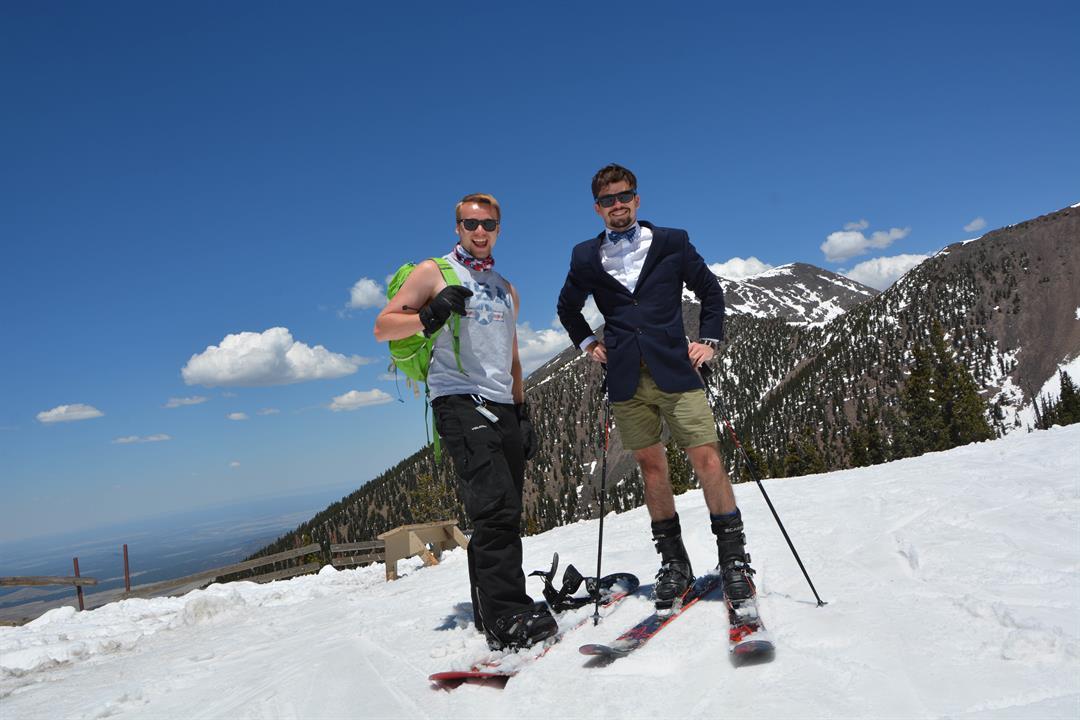 Skiers enjoying Cinco de Mayo on the slopes at Arizona Snowbowl! (5 May 2017)