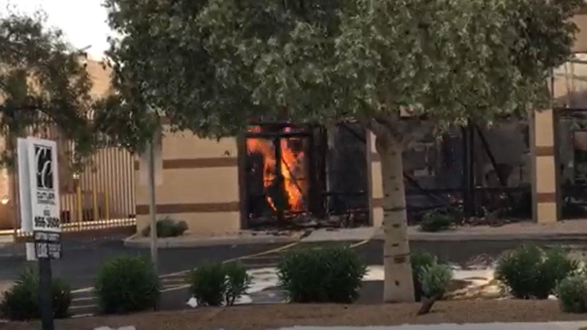 Firefighters battled a blaze involving lithium batteries at an industrial park in Phoenix. (Source: Phoenix Fire Dept.)