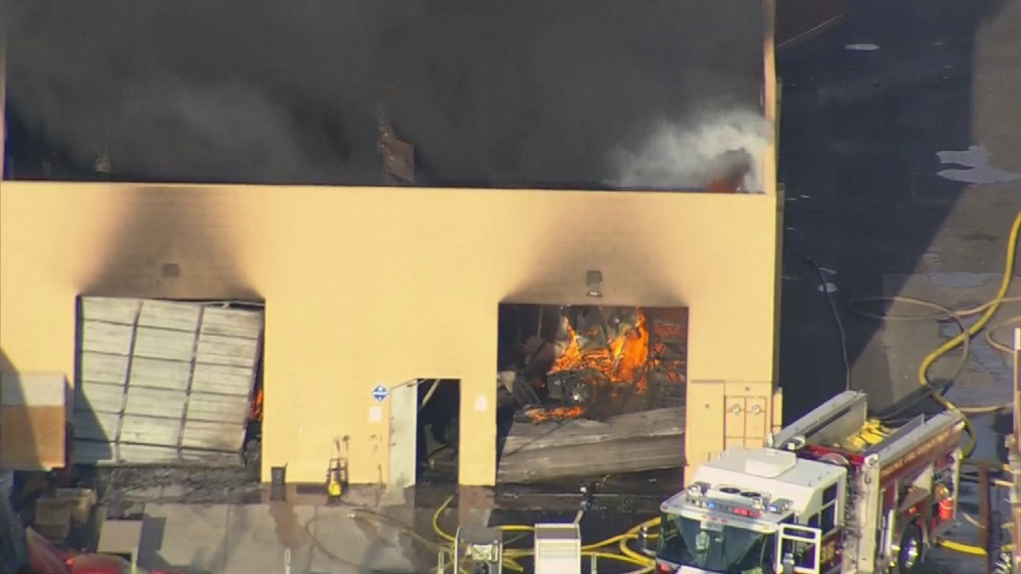 Firefighters battled a blaze involving lithium batteries at an industrial park in Phoenix. (Source: 3TV/CBS5)