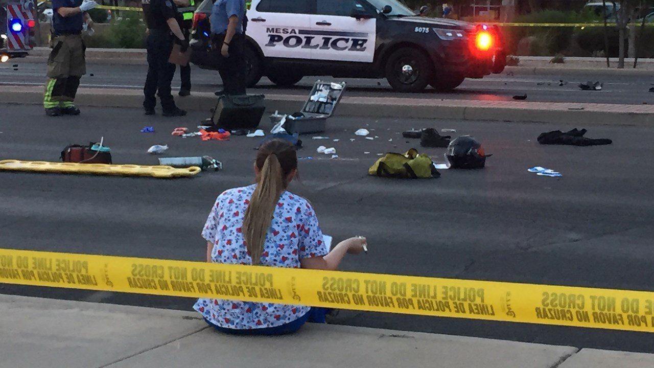 A man riding a motorcycle was killed after a crash involving a vehicle in Mesa. (Source: 3TV/CBS 5)