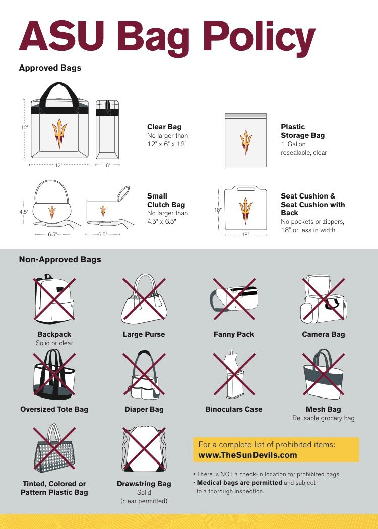 As with other ASU events, the school's clear bag policy will be in full effect. (Source: ASU)