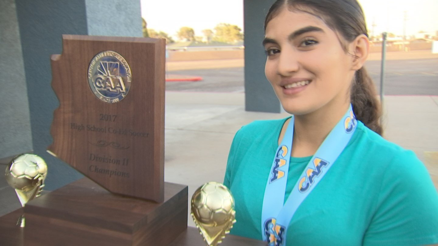 Fatema Dawood, 16, a junior at Maya High School in Phoenix, won the division state championship with her soccer team Saturday night. Dawood lost her father in a car crash on March 24. (Source: 3TV/CBS 5)