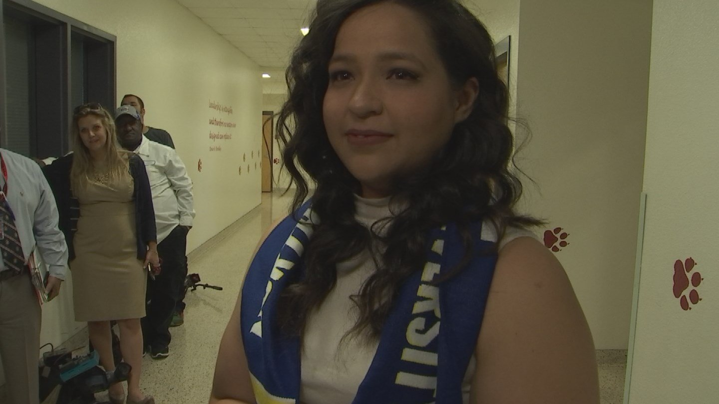 Central High School senior Esmeralda Regino was surprised with a full-tuition scholarship to NAU. (Source: 3TV/CBS 5)