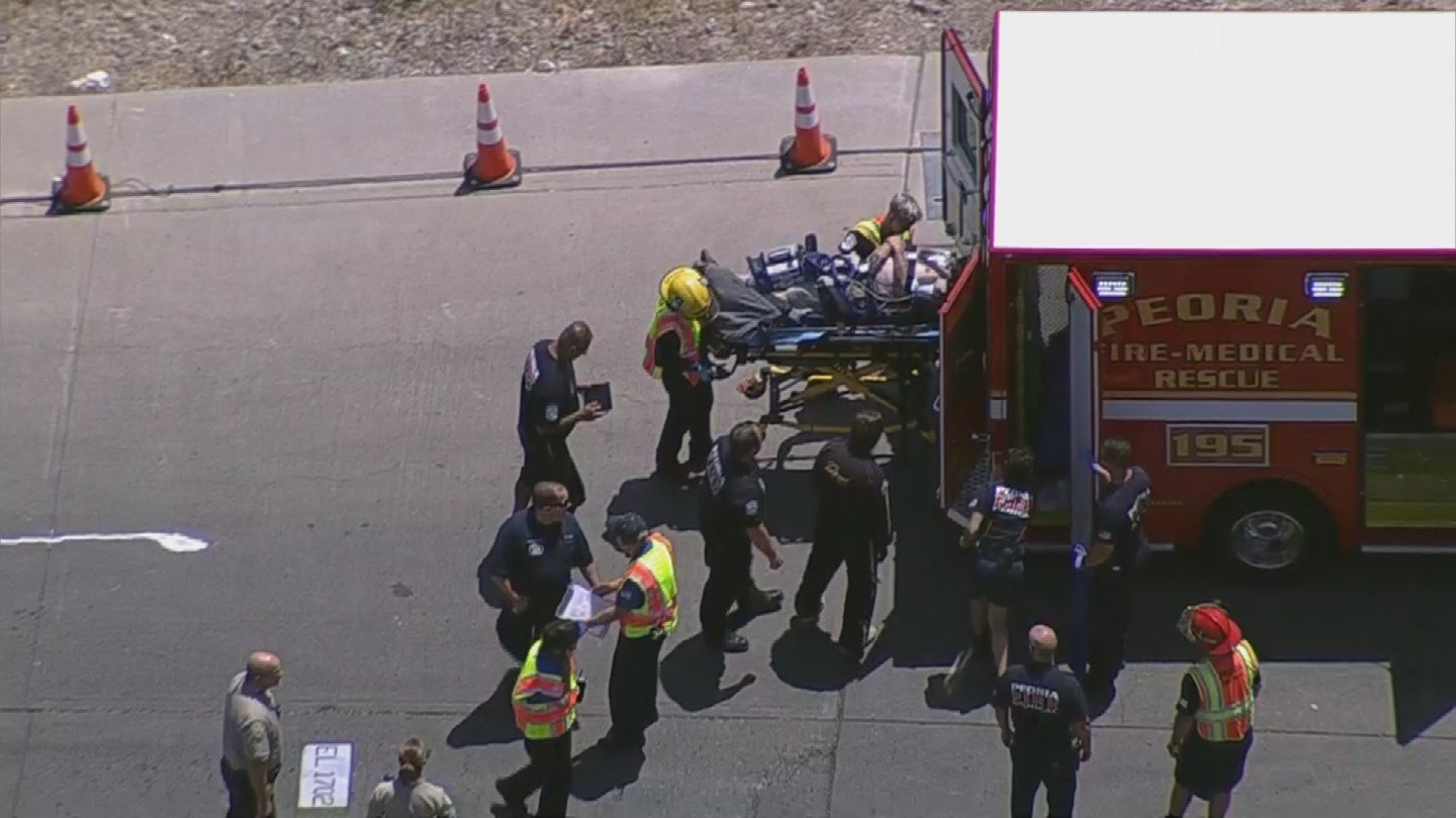Fire crews transporting a 29-year-old man from Lake Pleasant Monday after he nearly drowned. (8 May 2017)