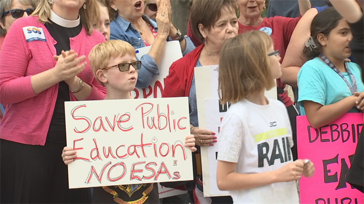 Sharon Kirsch of Save Our Schools said the group is concerned about the voucher program siphoning funding from public schools. (Source: 3TV/CBS 5)