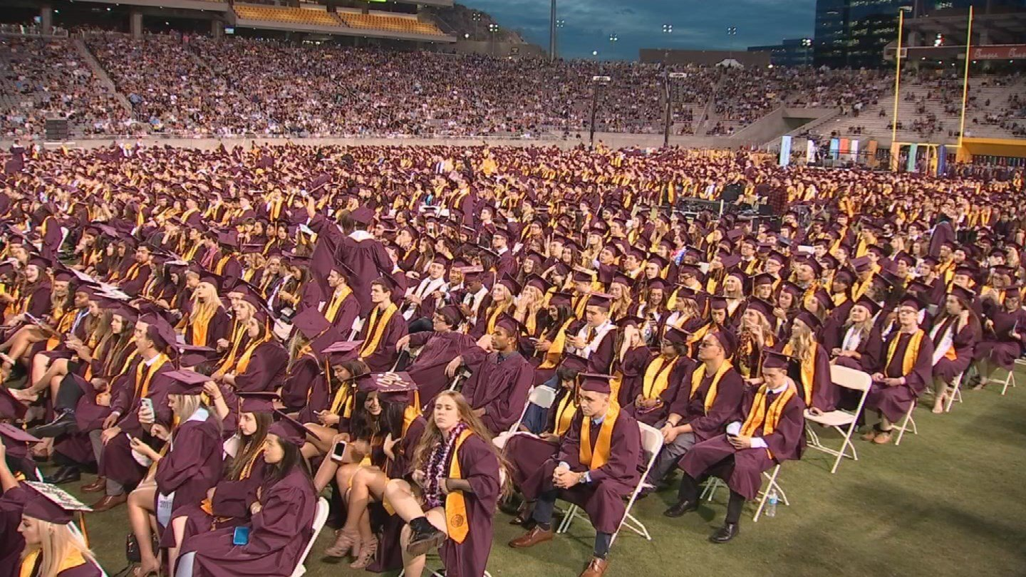 About 5,200 students, and thousands of their relatives and friends, gathered in Sun Devil stadium for the 2017 commencement ceremony. (Source: 3TV/CBS 5)