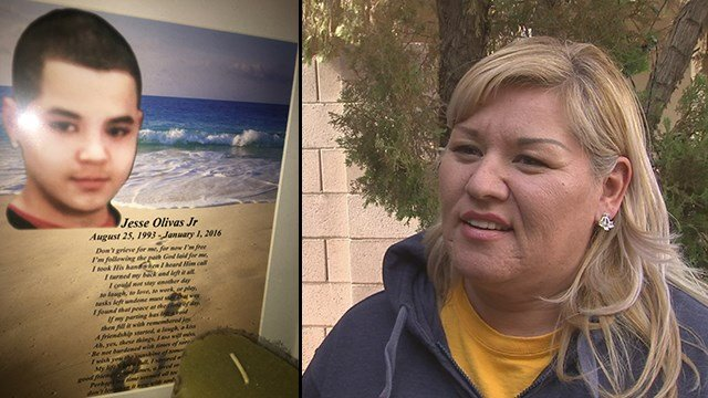 Jesse Olivas, left, was killed on New Year's Day in 2016 and his mother, Lydia Lopez, right, spoke about the arrest made on Monday. (Source: 3TV/CBS 5)
