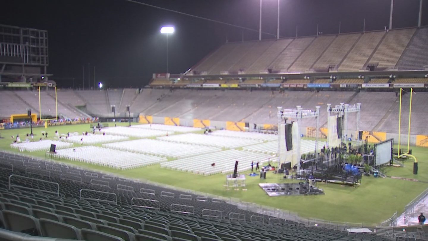 Just after the ASU graduation ceremonies ended, rain arrived in the area.(SOURCE: 3TV/CBS 5)