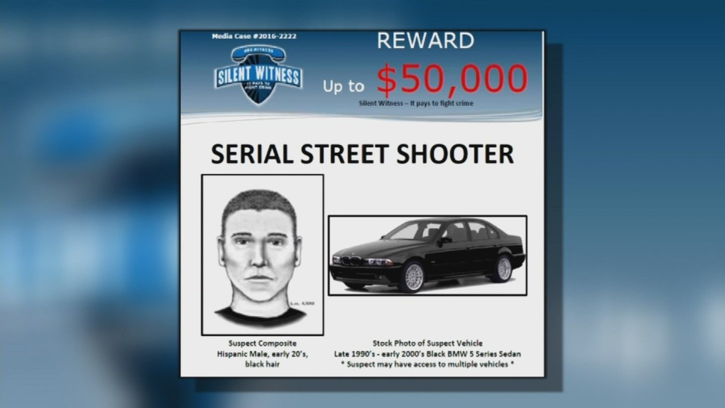 A composite sketch of the alleged Phoenix Serial Street Shooter and the vehicle he was seen driving. (Source: 3TV/CBS 5)