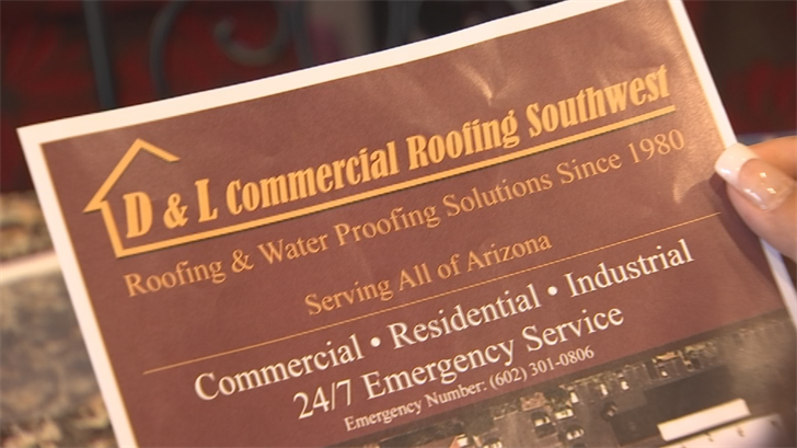 Nevarez says she went with D & L Commercial Roofing because they're licensed, they seemed professional and she liked their $1,600 bid for a new patio roof. (Source: 3TV/CBS 5)