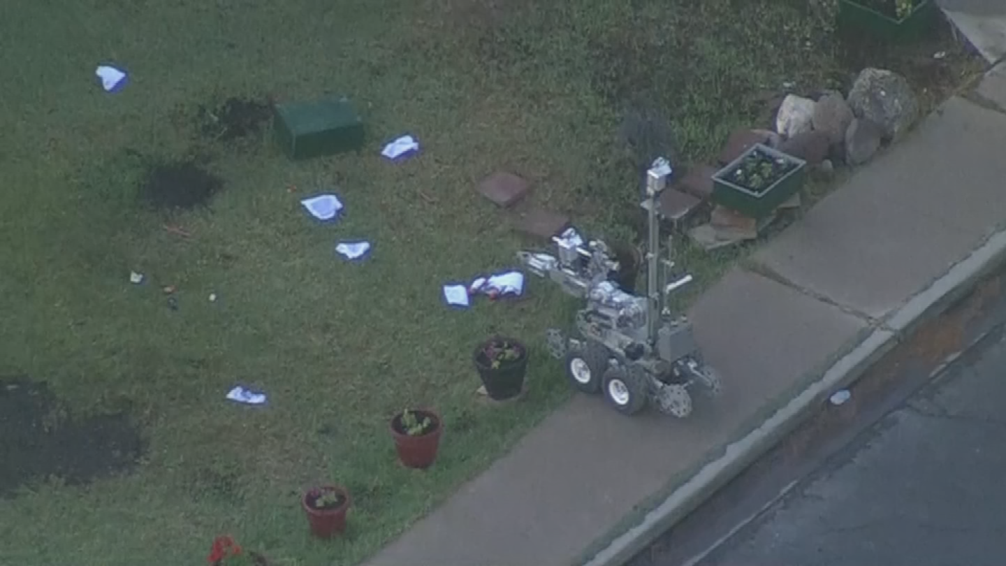 Police later determined the device was four separate explosive devices connected through one wick fuse. (Source: 3TV/CBS 5)