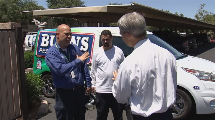 A couple of exterminators saved a Glendale grandfather who was struggling in a lake behind his house. (Source: 3TV/CBS 5)