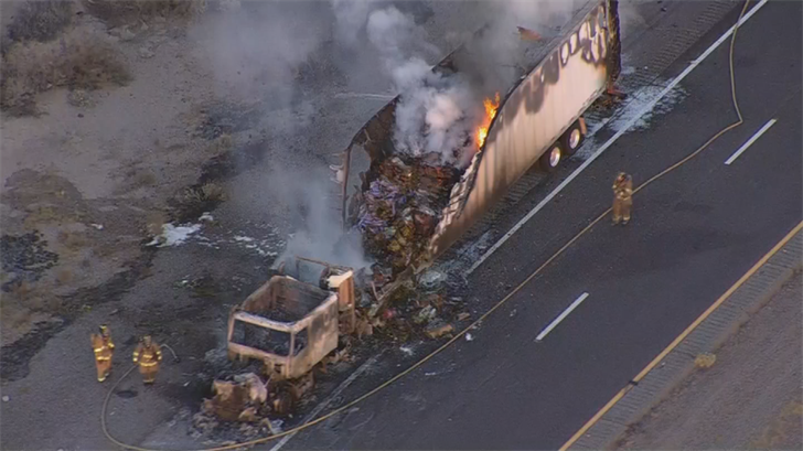 A semi-truck full of Mother's Day flowers went up in flames on Thursday. (Source: 3TV/CBS 5)