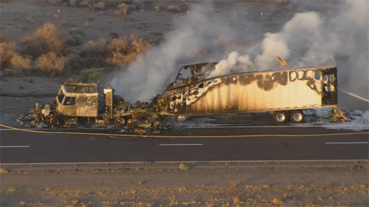 The westbound lanes of the I-10 were shut down for about an hour while crews put out the flames and cleaned up the road. (Source: 3TV/CBS 5)