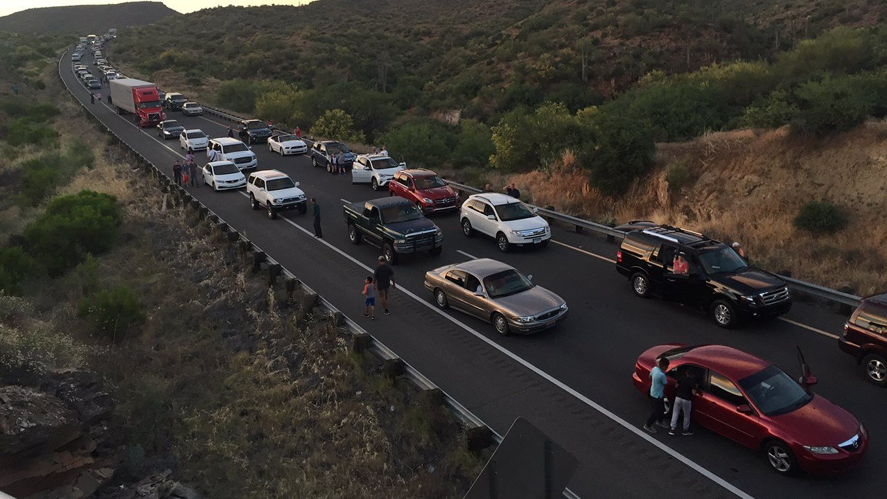 The crash, involving a tour bus and semi-truck, caused traffic on the I-17 to back up for about 5 miles. (Source: 3TV/CBS 5)