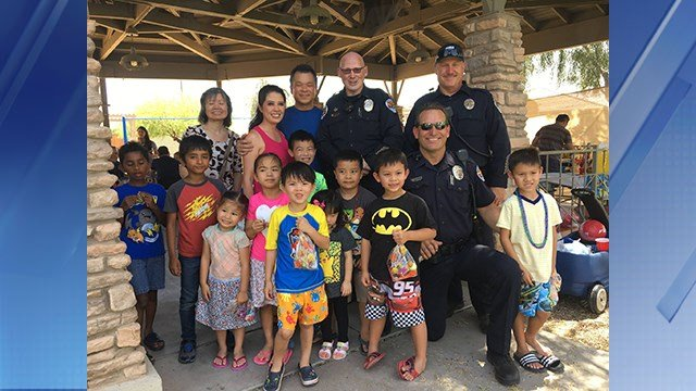 Police hung out at a birthday party after delivering a present following a crash. (Source: Chandler Police Department)