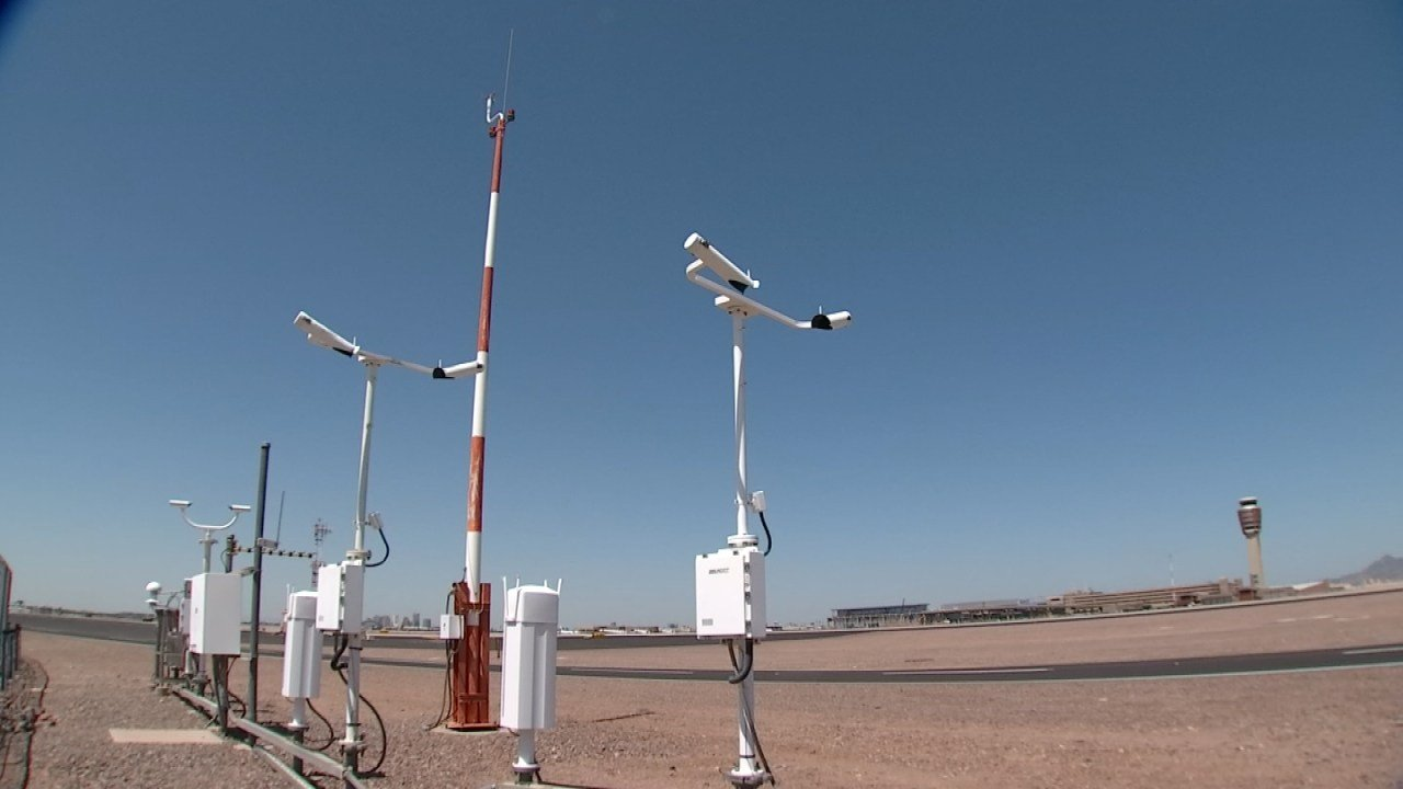 The array of weather instruments at Sky Harbor Airport. (Source: 3TV/CBS 5)