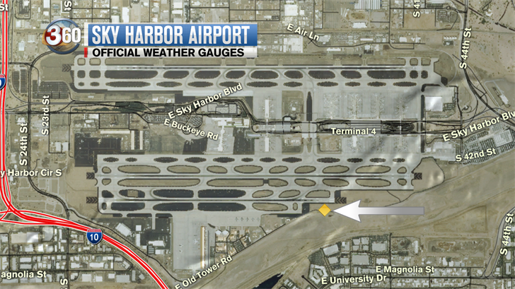 This is an aerial view of Sky Harbor that shows where the weather station is located. (Source: 3TV/CBS 5)