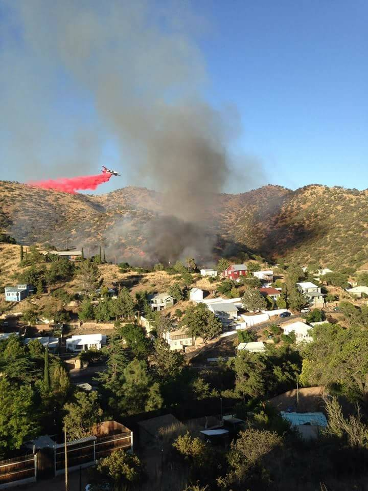 Multiple fire agencies responded as crews tried to keep the blaze from growing. (Source: Copper Queen Hotel)